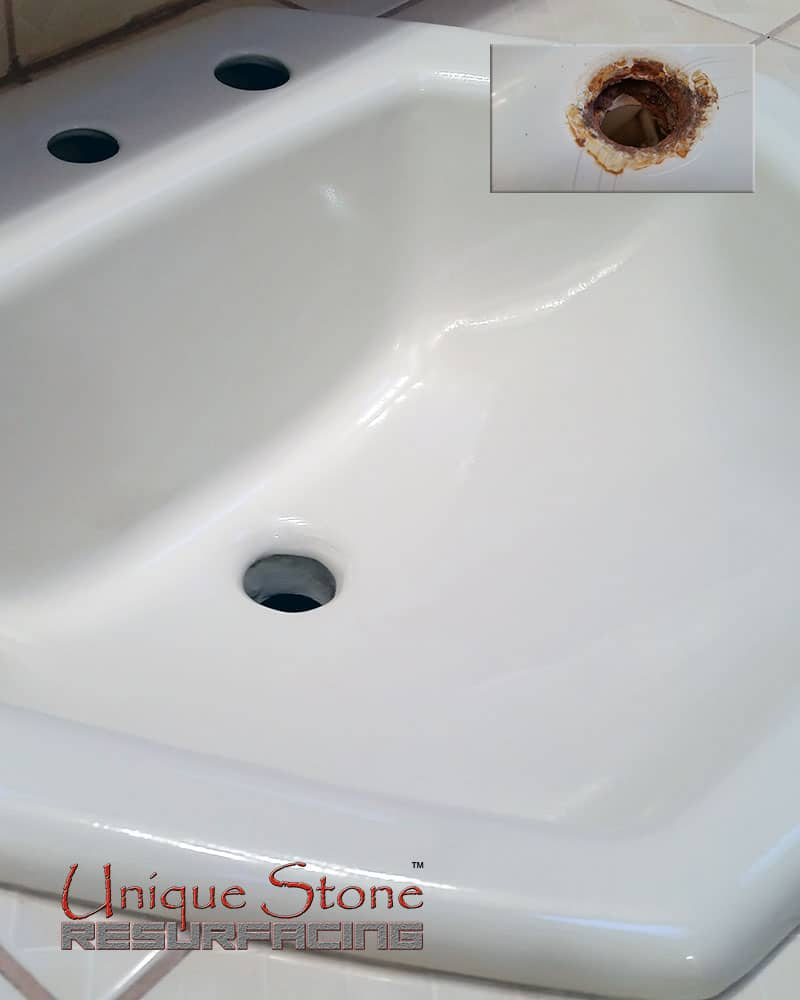 Bathroom sink chip repair - Unique Stone Resurfacing